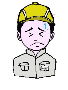 日本人 作業帽子 冷や汗