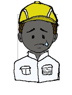 アフリカ人 作業帽子 涙